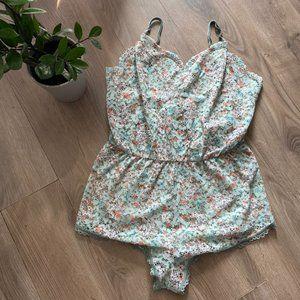 Victoria's Secret Mint Floral Lace Sleep Romper